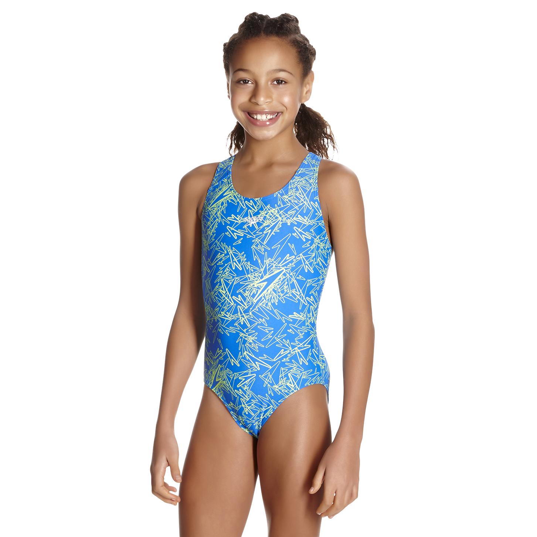 Speedo Boom Allover Splashback Girls Swimsuit Blue Green Run Charlie