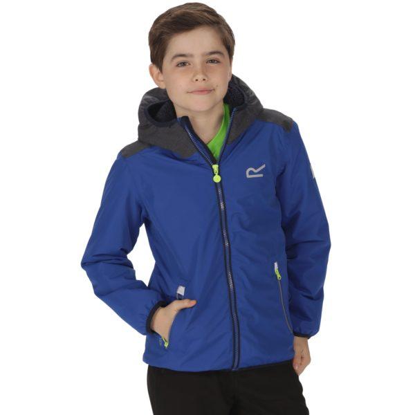 Regatta Volcanics Kids Waterproof Breathable Reflective Hooded Jacket Lime 5-6