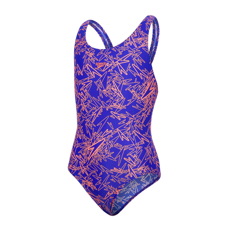 e0c9b65c1c7d9 Speedo Boom Allover Splashback Girls Swimsuit Blue Orange - Run Charlie