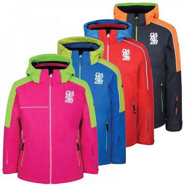 Dare2b Kids Declared Waterproof Breathable Hooded Reflective Ski Jacket Pink