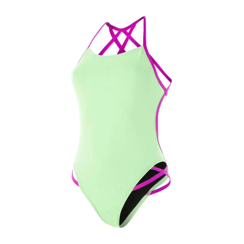 d1624df38 Speedo Flipturns Neon Freestyler Youth Womens Swimsuit Bright Zest/Neon  Orchid