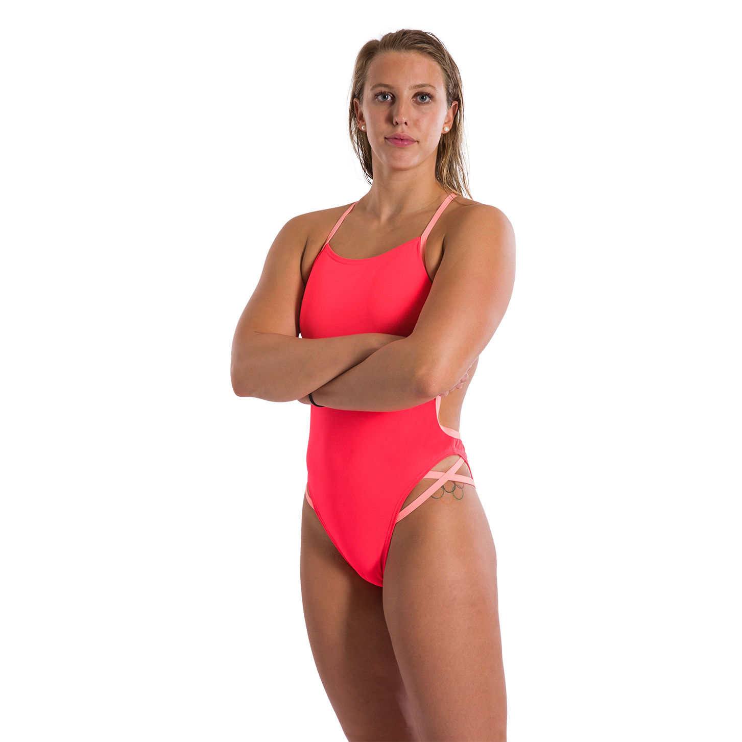 88edb01b97 Speedo Flipturns Neon Freestyler Youth Womens Swimsuit Psycho Red/Flash