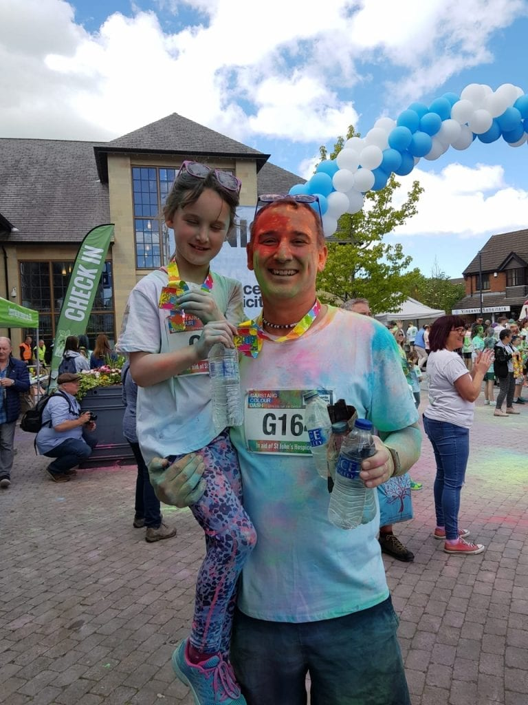 Two Run Charlie Team Members Covered In Paint After The Garstang Colour Dash 2019